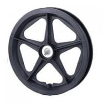 "12"" plastic wheel with keyway hub."